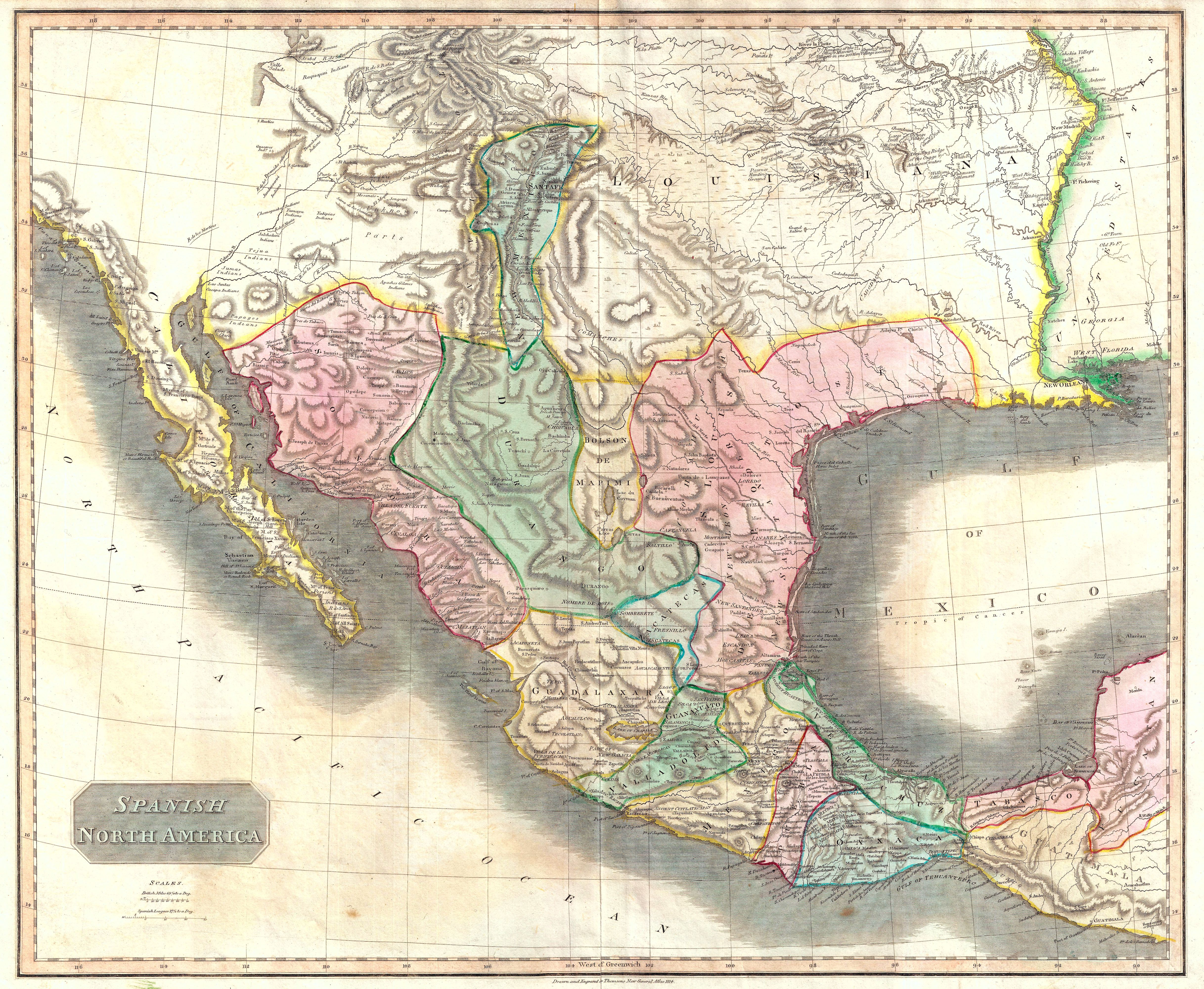 thomson map of mexico and texas spanish north america