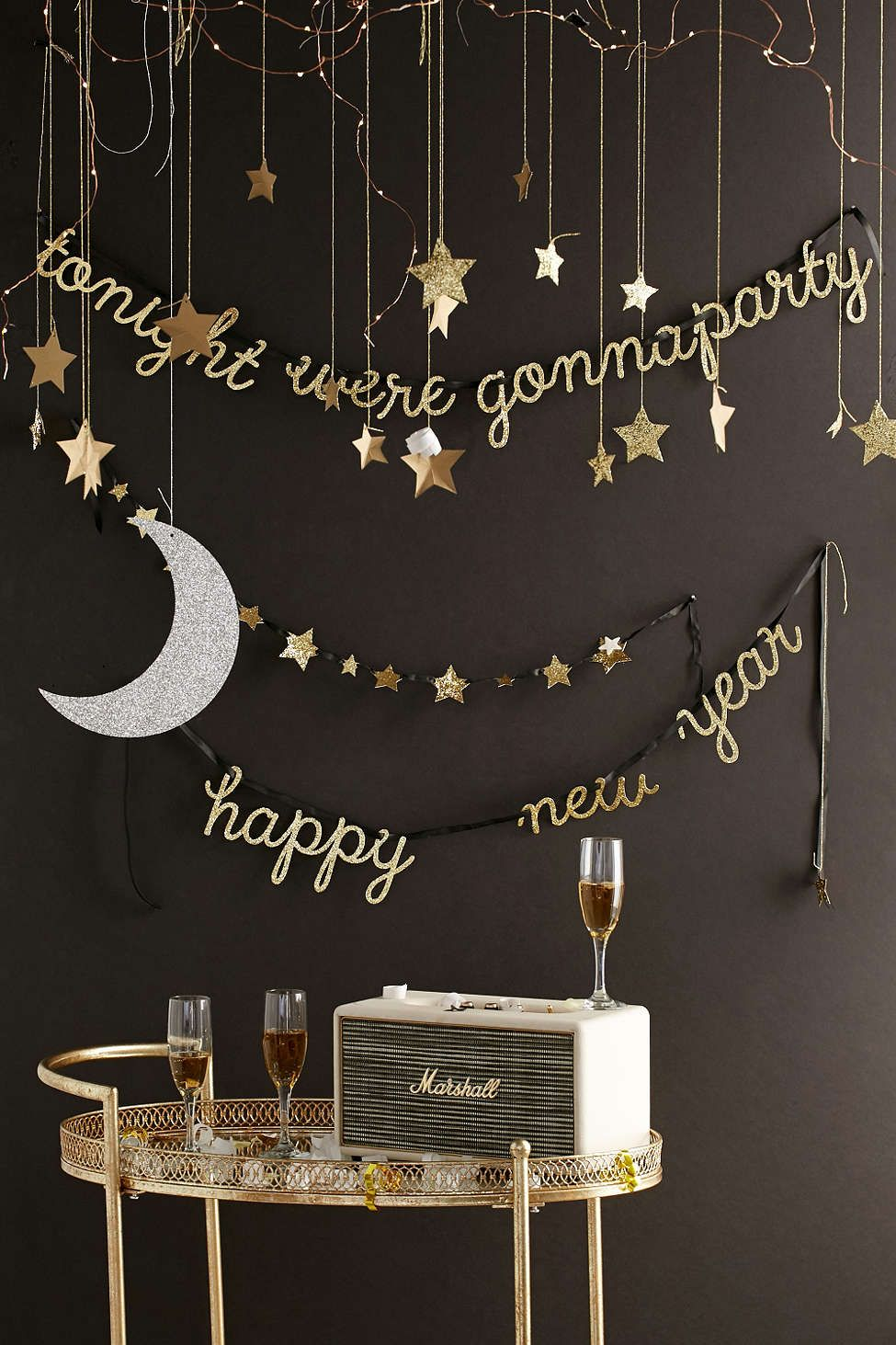 Meri Meri Moon And Star Hanging Decorations New Years Eve