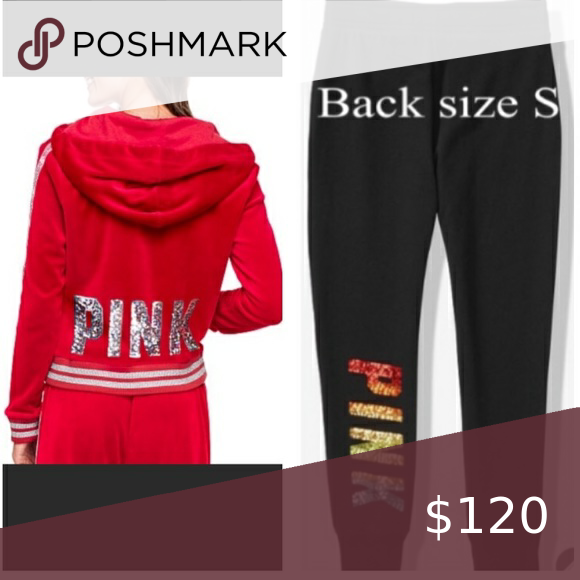 VS Pink sequin Bling shine full-zip hoodie /& jogger Pant outfit set