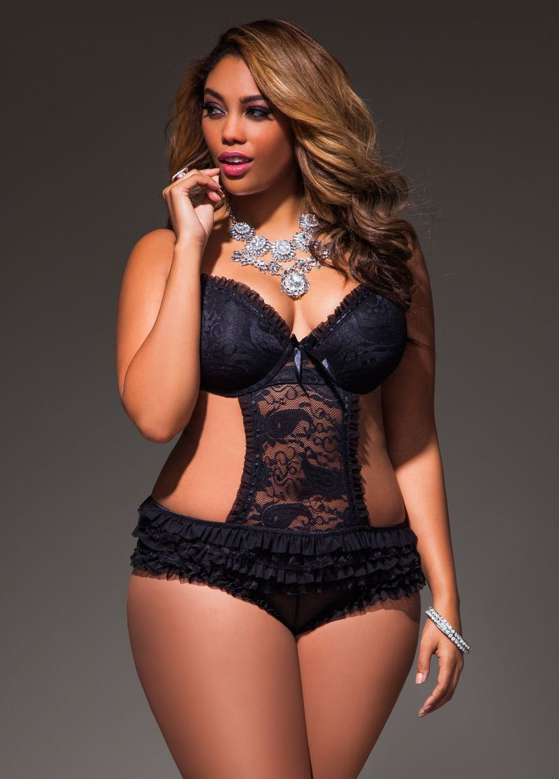 e26c2e4444ff0 Ruffled Mesh and Lace Teddy - Ashley Stewart.  AS-026162 2899XTD black front.jpg (800×1115) Leather Lingerie