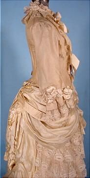 c. 1883 STERN BROS. Wedding Gown of Cream Grenadine and Lace with Satin Ribbons. Detail