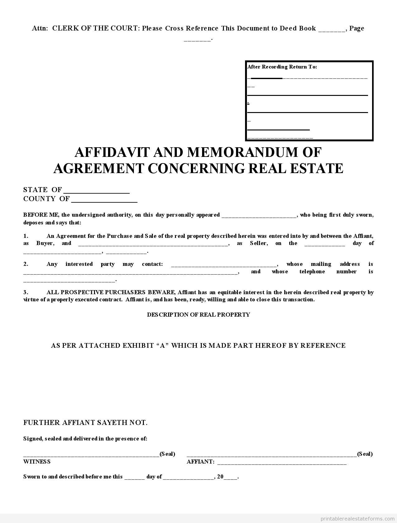 Sample Printable Affidavite Of Ps New Form Printable Real Estate