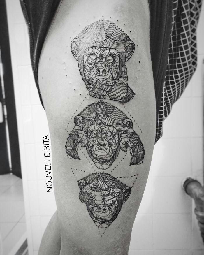 See No Evil Hear No Evil Speak No Evil Rita Nouvelle See No Evil Hear No Evil Speak No Evil Monkey Tattoo Geometric Tattoo Geometric Animal Tattoo Monkey Tattoos