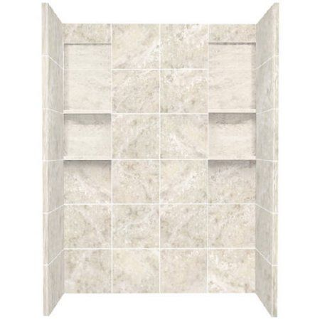 Transolid 60 inch x 32 inch x 80 inch Solid Surface Shower Wall Surround, Available in Various Colors, Silver