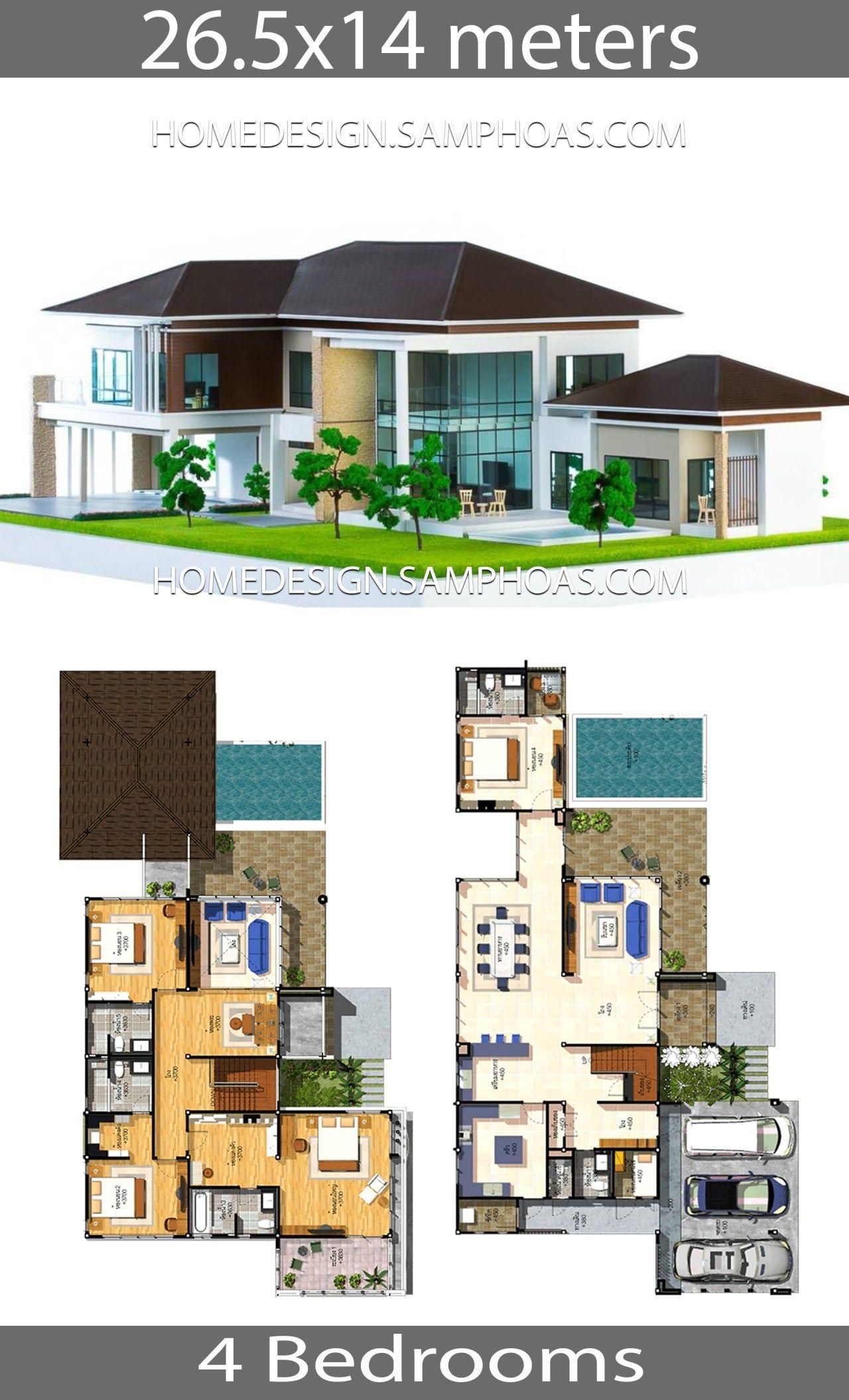 House Plans Idea 26 5x14 With 4 Bedrooms Projetos De Casas Terreas Projetos De Casas Plantas De Casas