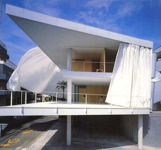 Shigeru ban   japón. casa con paredes de cortina   tokyo   función ...