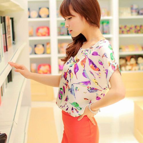 Colorful Bird Blouse $16