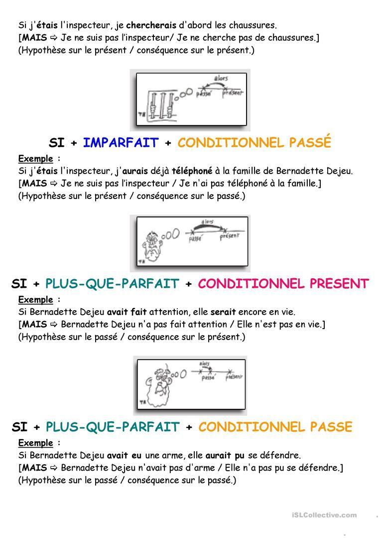 Les Structures Avec Si L Enseignement Du Francais Fiches