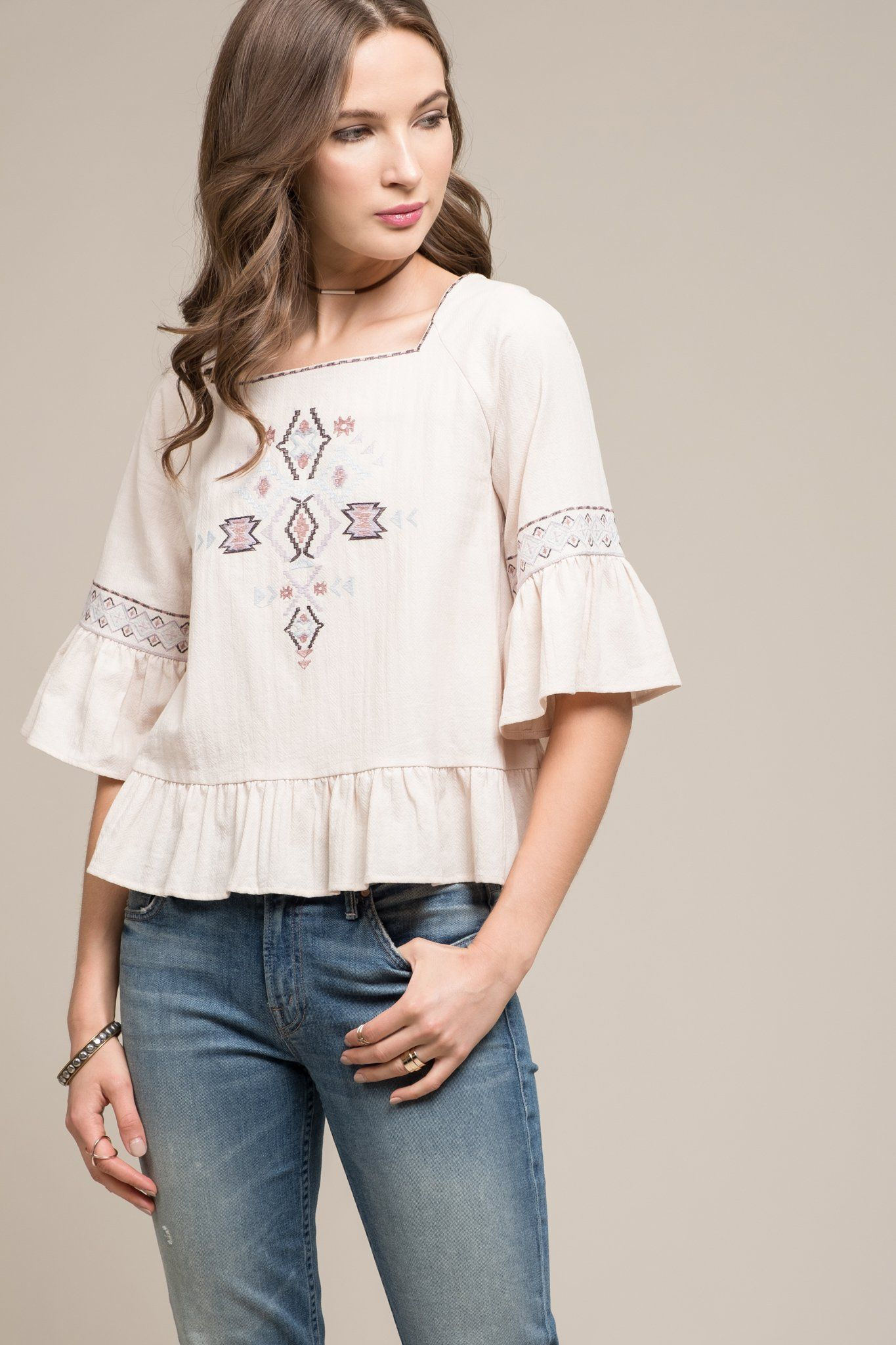 ca87752d64b382 EMBROIDERED 3 4 RUFFLE SLEEVE TOP