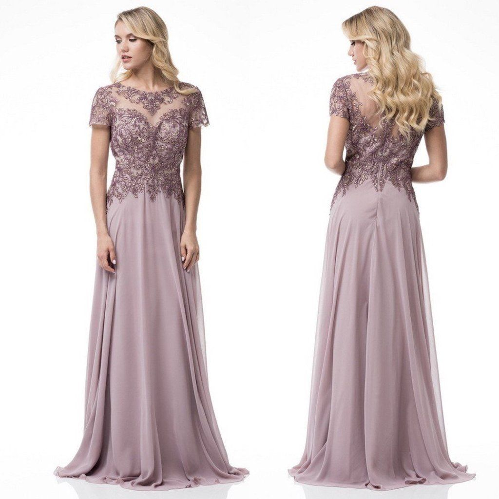 Floor Length Fantasy A,Line Chiffon Lace Mauve Mother of the