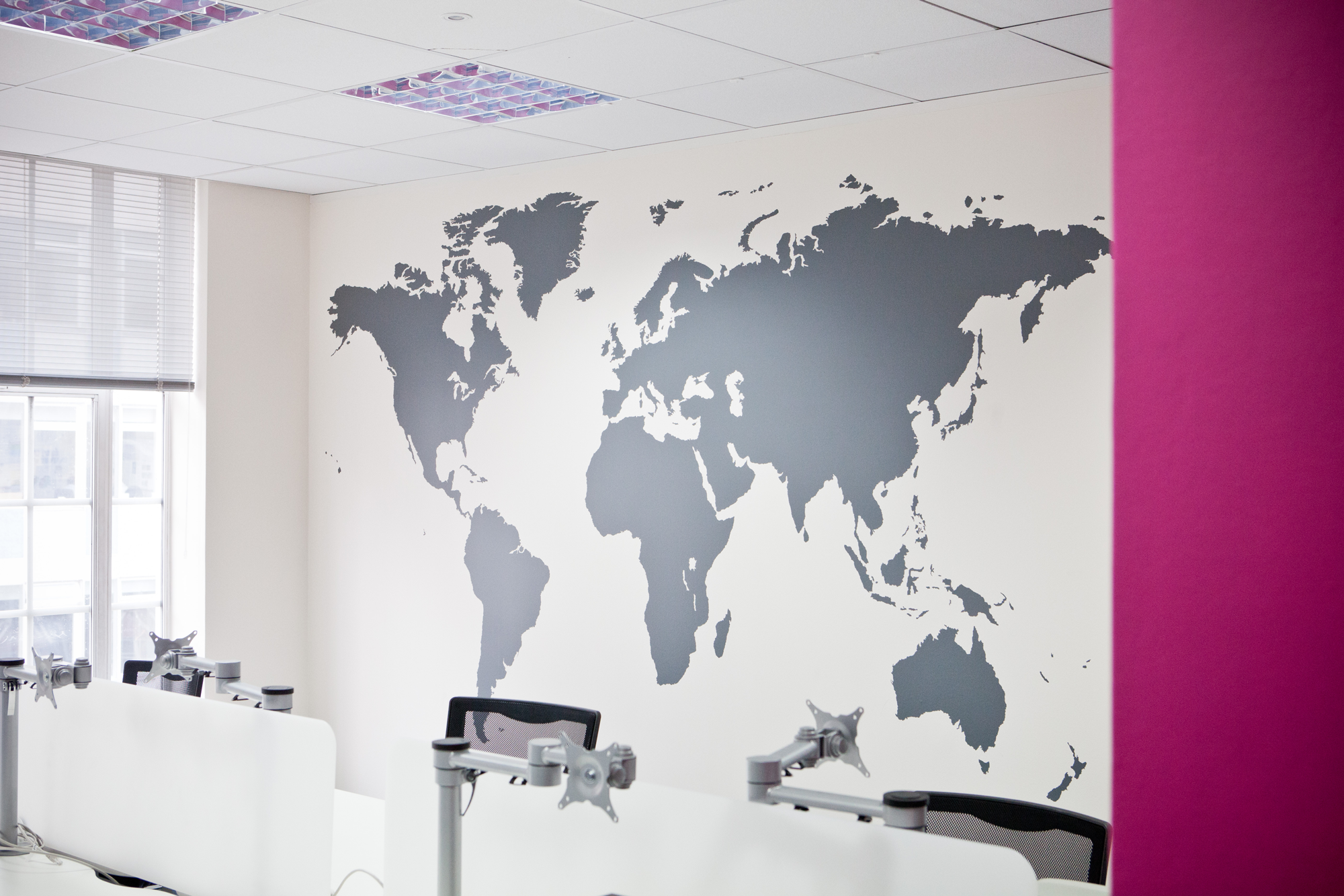 World Map Wall Art In Office In London Silhouette Of