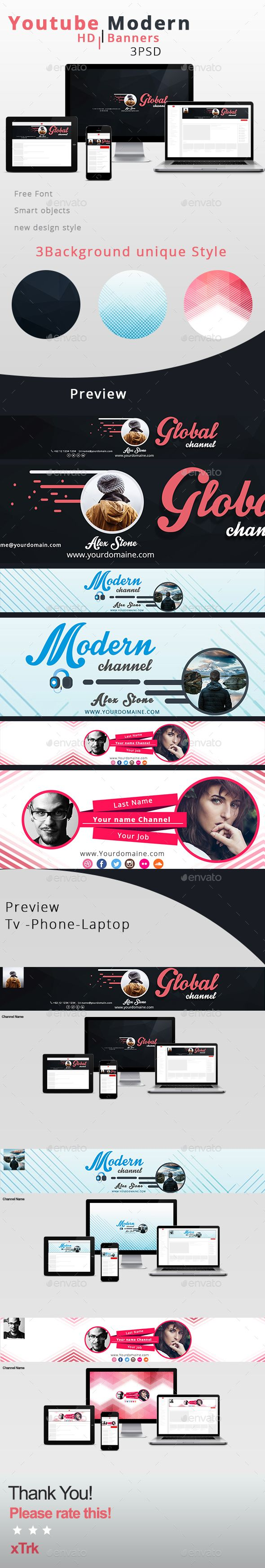 Modern Youtube Channel Template Youtube And Modern - Youtube ad template
