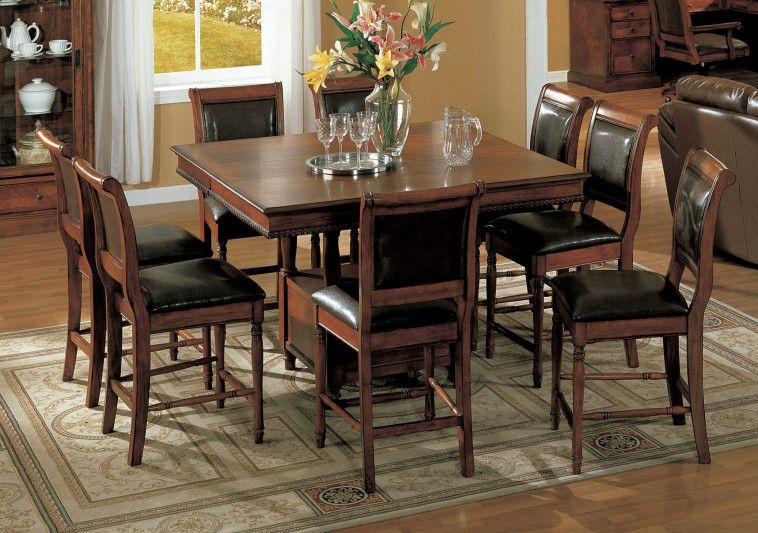 Square Brown Varnished Oak Pub Table Combined With Faux Leather Upholstered  Chairs With Bistro Table Set And Bar Chairs And Tables