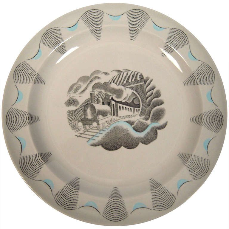 Eric Ravilious Travel Series Train Plate design c.1938, and manufactured by Wedgwood, c.1954. Black transfer with painted light blue highlights.