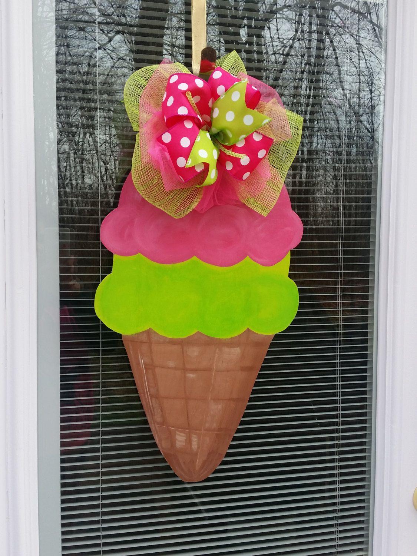 Ice cream door hanger, ice cream wreath, summer door hanger, summer wreath, summer door decor, summer welcome sign by MoniLulis on Etsy https://www.etsy.com/listing/269143103/ice-cream-door-hanger-ice-cream-wreath