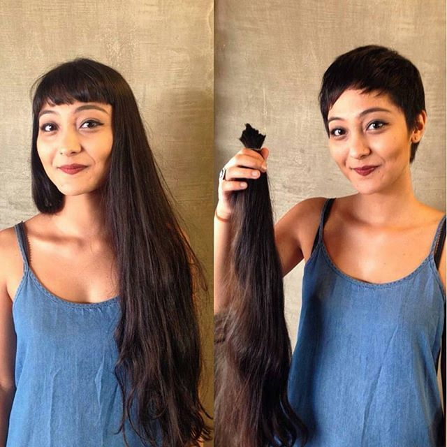 Coupe de cheveux femme court avant apres