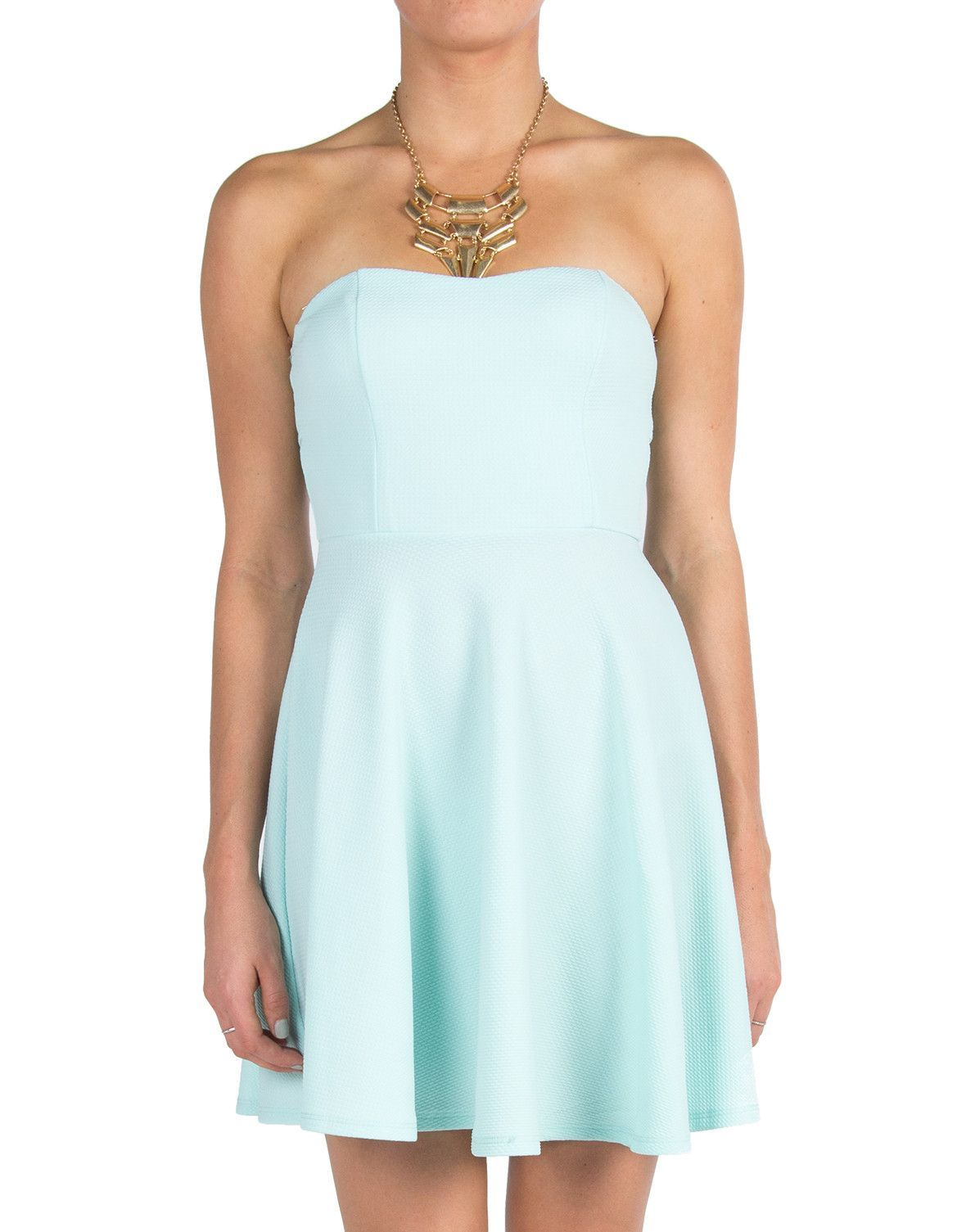 Sweetheart Textured Skater Dress - Mint - Medium