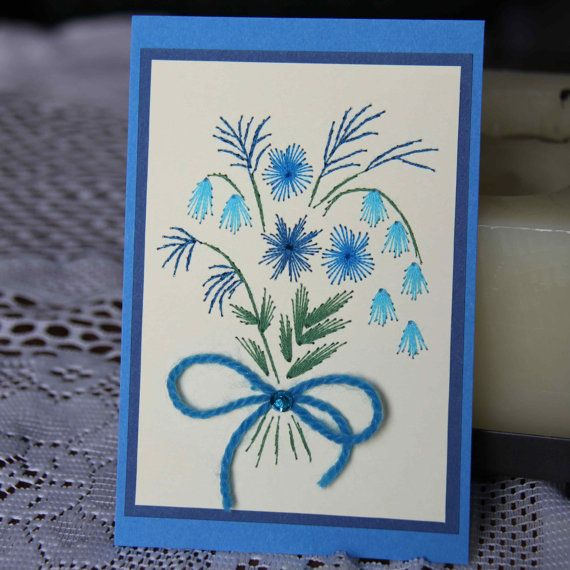 Teal flower bouquet embroidered picture 4x6 by SandrasCardShop, $10.00 - a beautiful shop!
