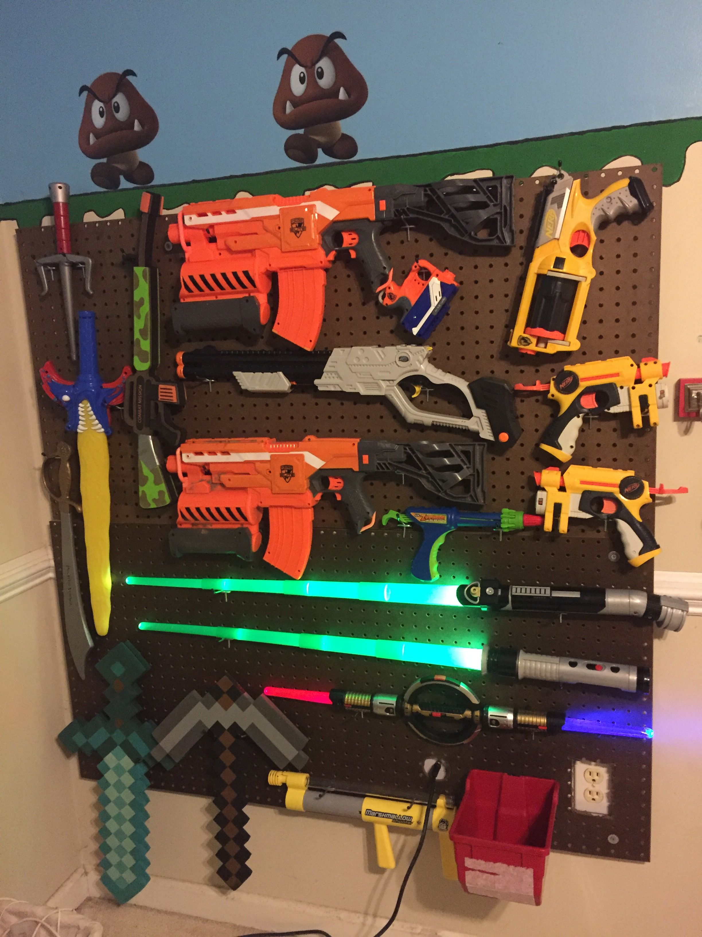 Nerf Gun Storage Wall For The Kids Nerf Gun Storage
