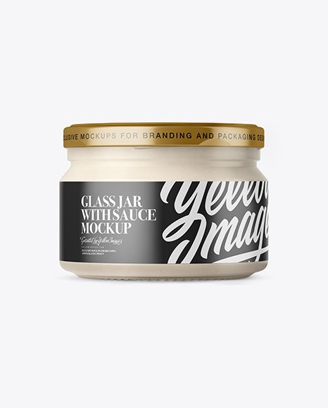 250ml Clear Glass Jar With Garlic Sauce Mockup - Front View