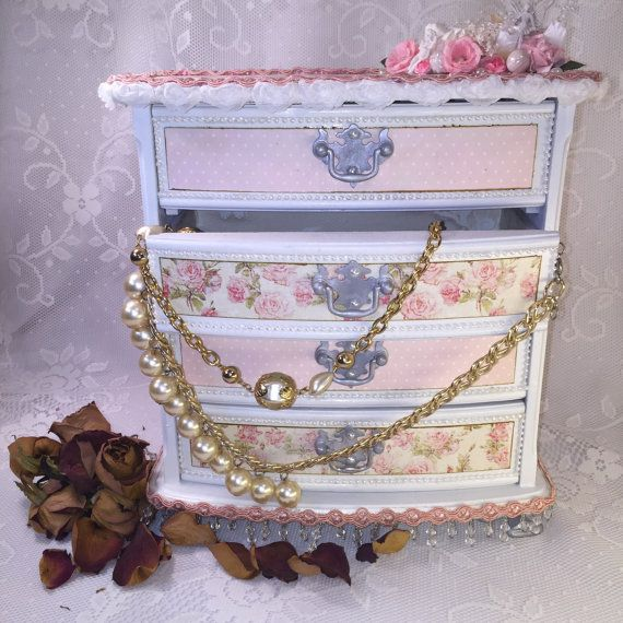 Wood Jewelry Box Shabby Chic Style Gift For Her Storage Upcycled Pretty Container Stor