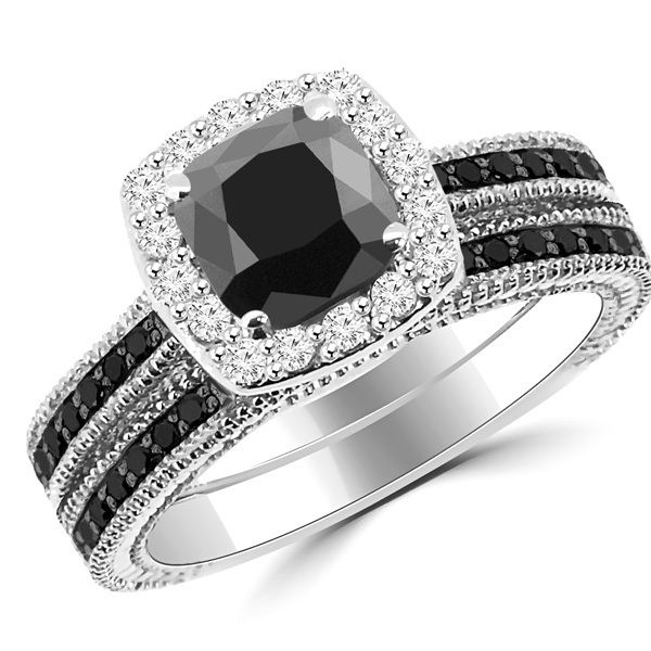 2 15ct Cushion Cut Black Diamond Halo Engagement Ring Set
