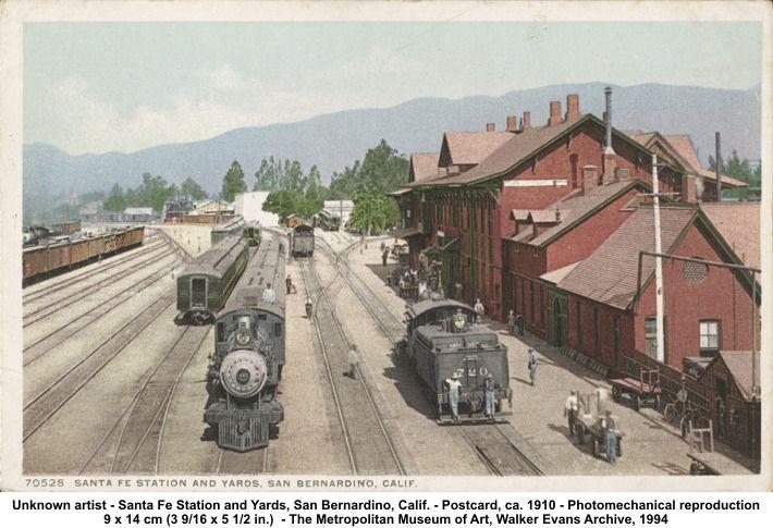 1910 walker evans postcard san bernardino, california train ...