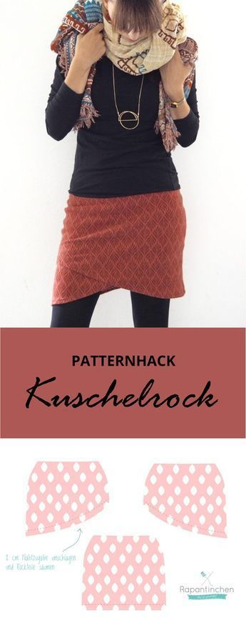 sewn - Patternhack cuddly skirt with sewing instructions -  Patternhack instructions: a wrap skirt for cold days The cuddly skirt for women by Rapantinchen is a figure-hugging, short skirt. It is sewn from stretchy fabrics such as sweat and is cozy thanks to the wide cuff. The e-book for the cuddly skirt with step-by-step instructions is also suitable for beginners and beginners. With a simple pattern hack, the cuddly skirt quickly becomes a wrap skirt that you don't have to wrap. Chic and supe