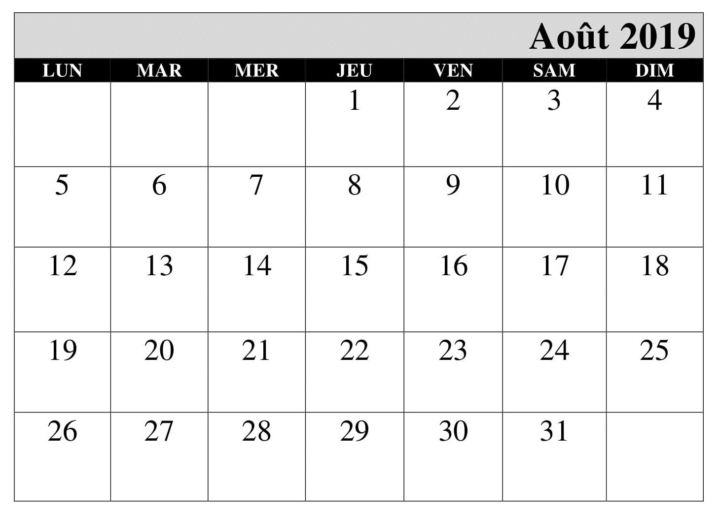 Aout Calendrier Table 2019 Pdf Calendar 2019 Printable Calendar