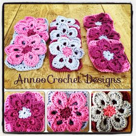 Annoo's Crochet World: Field of Purples Flower Granny  - FREE CROCHET PATTERN