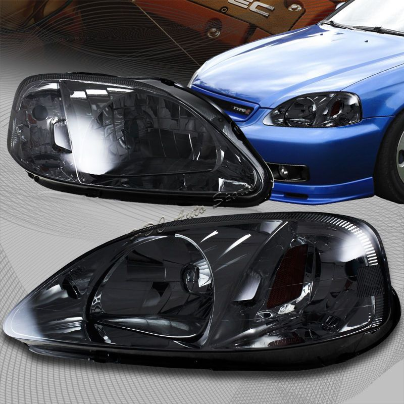 For 96-98 Honda Civic Chrome LED Halo Projector Headlights+ABS Hood Grille