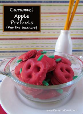 Caramel Apple or Orange Pumpkin Pretzels (Use broken pretzel pieces for stems)