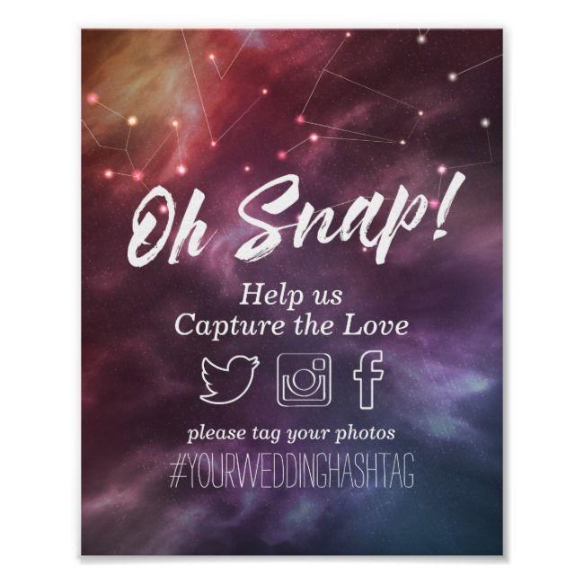 Wedding Hairstyle Hashtags: Wedding Snap Hashtag Galaxy Nebula Constellations Poster