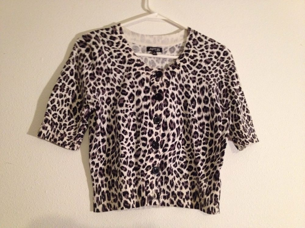 Ladies Leopard Skin Print Cardigan Sweater by APT.9 Size Small ...