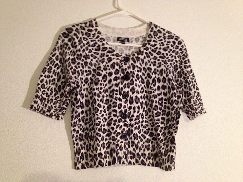 Ladies Leopard Skin Print Cardigan Sweater by APT.9 Size Small ...