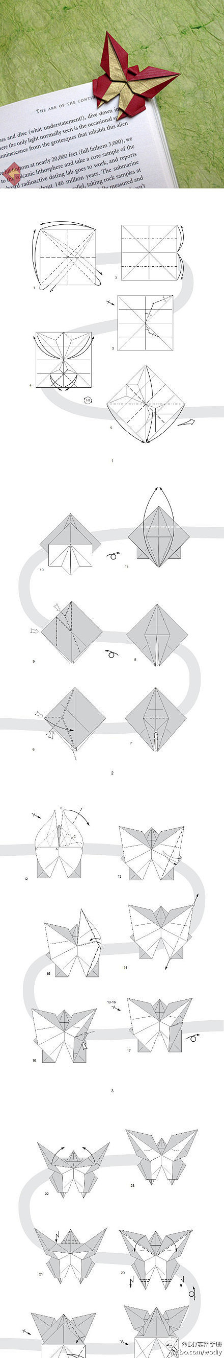 Easy Origami Butterfly Bookmark Corner - How to make an Origami ... | 2658x440