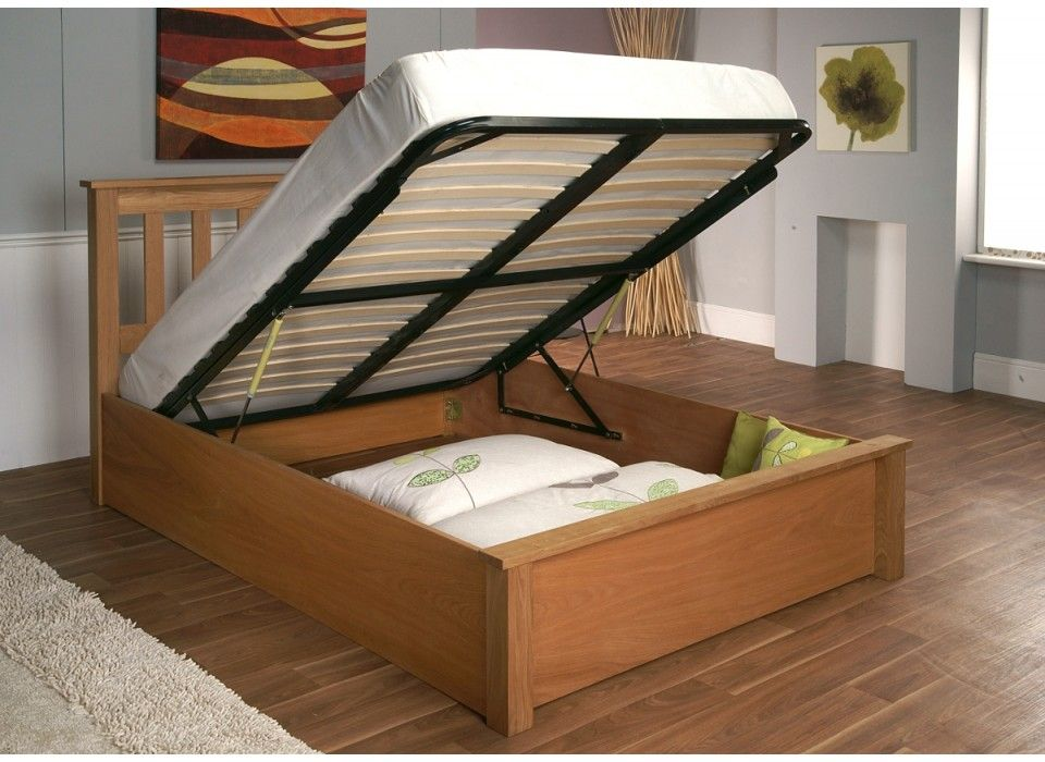 Langbar Ottoman Storage Bed American Oak Open Bed Frame With