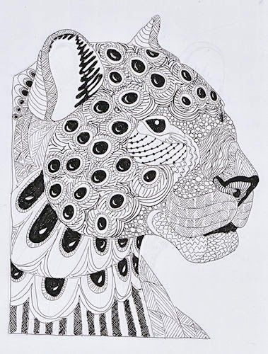 Leopart Jpg 379 500 Coloriage Anti Stress Coloriage Animaux