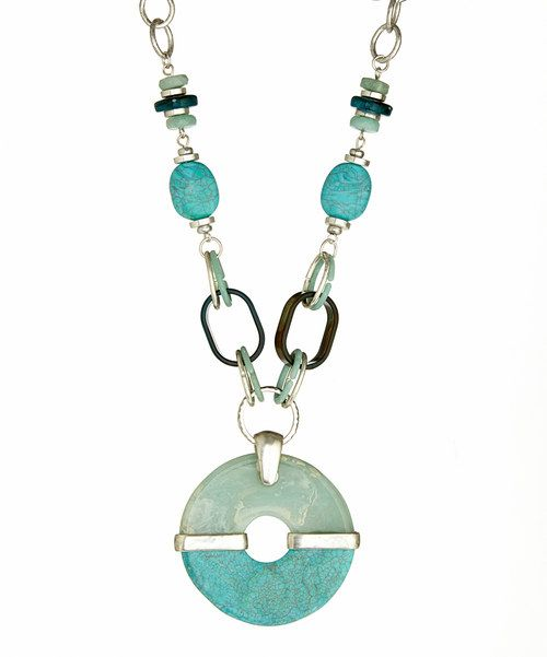 Look at this Turquoise Disc Pendant Necklace on #zulily today!