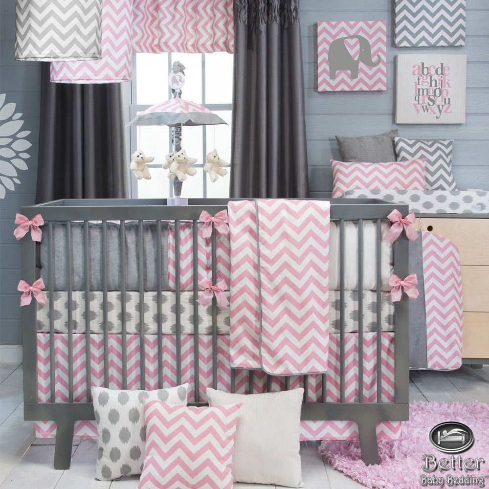Pink Baby Girl Nursery: Baby Girl Pink Gray White Chevron Zig Zag Infant Crib