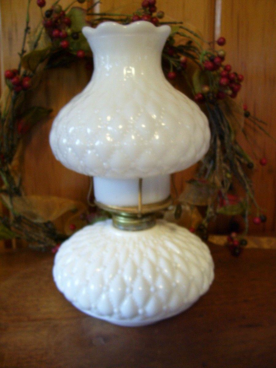 Rare Antique Fenton Milk Glass Oil Lamp Quilted Diamond