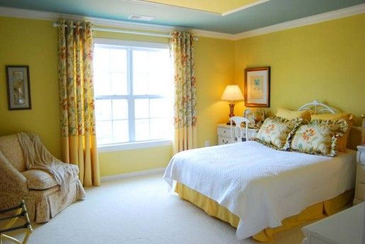 I love the yellow walls with the blue ceiling and crown molding. I ...