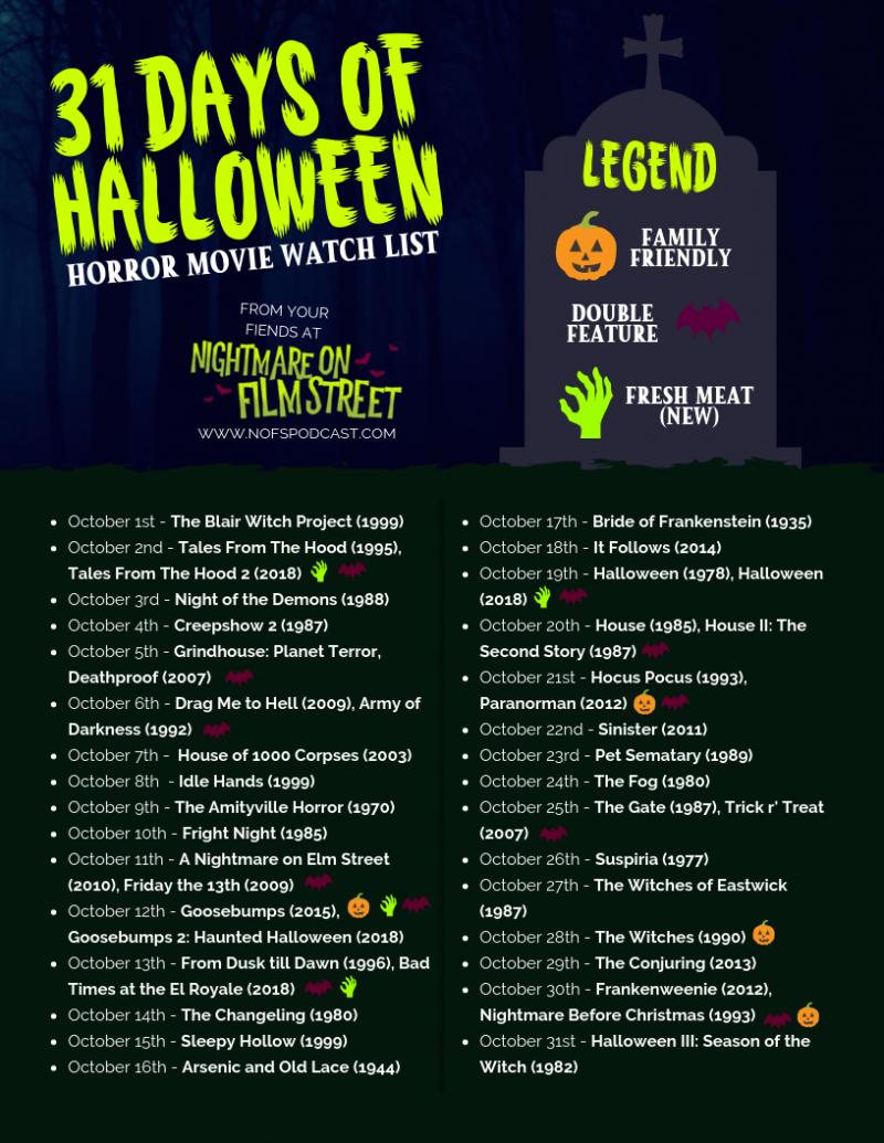 31 Days Of Halloween Schedule 2020 31 DAYS HALLOWEEN 2018   horror film marathon list [PRINTABLE