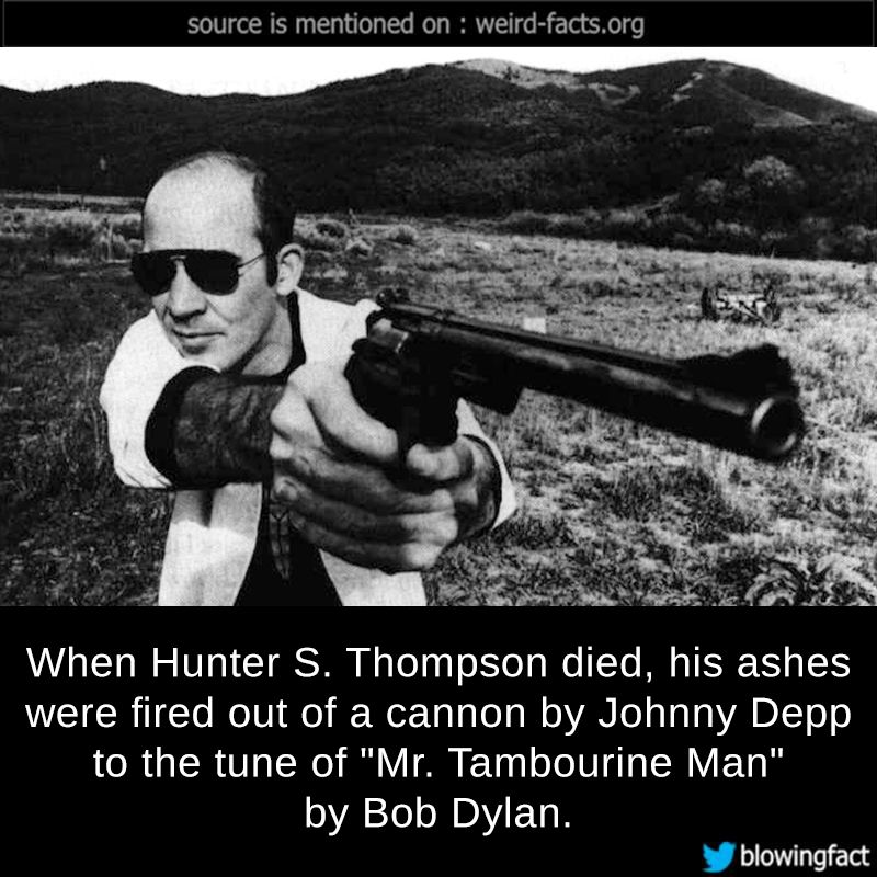"""mindblowingfactz: """"  When Hunter S. Thompson died, his ashes were fired out of a cannon by Johnny Depp to the tune of """"Mr. Tambourine Man"""" by Bob Dylan. source image via faena """""""