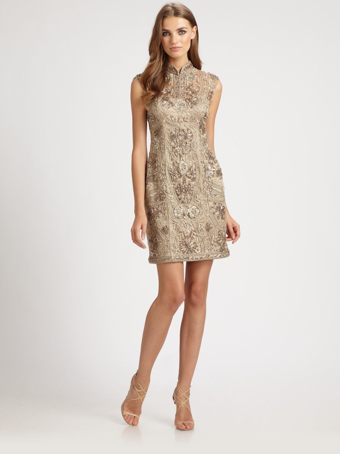 2e25028ed2 Sue wong Embroidered Mandarin Collar Dress in Beige