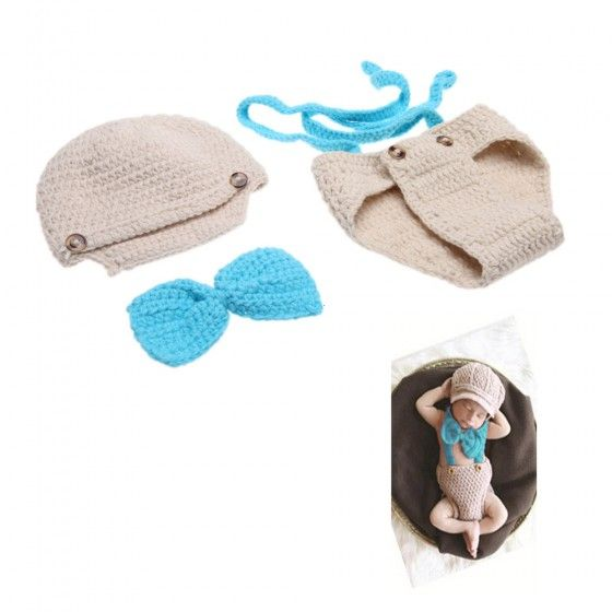Baby Infant Bow Tie Suspender Hat Suit Crochet Knitting Costume Soft Adorable Clothes Photo Photography Props for 0-6 Month Newborn