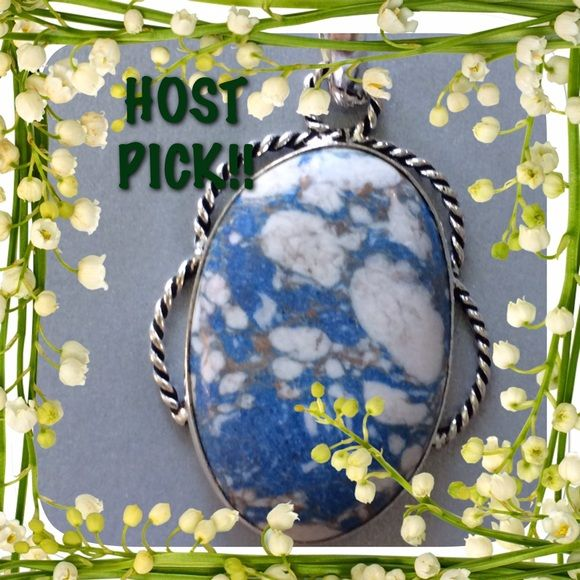"HOST PICK! Best in Jewelry & Accessories! 4/19/16 Beautiful Vintage Look to this Mosaic Jasper Pendant. Pretty blue white and gray color would be great for the jeans gal in your life nice ""roped"" look to the silver✨✨ Jewelry Necklaces"