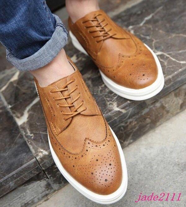 a70d3de9c3aed Informal Para hombres formales Oxford Tallado Wing Tip Tenis Deportivas  Zapatos Con Cordones Vestido Formal