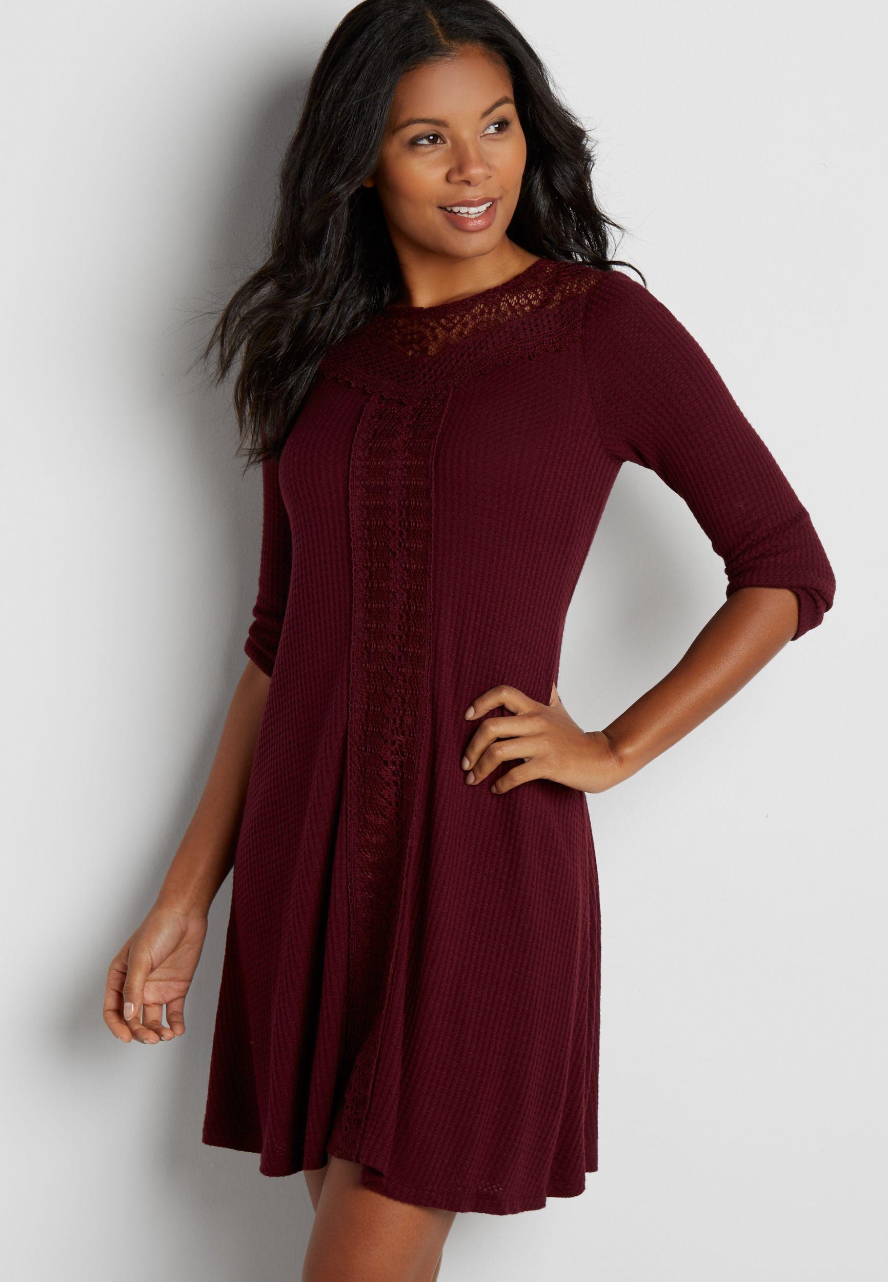 Waffle Knit Dress With Lace Original Price 44 00 Available At Maurices Knit Dress Lace Dress Dresses [ 2500 x 1732 Pixel ]