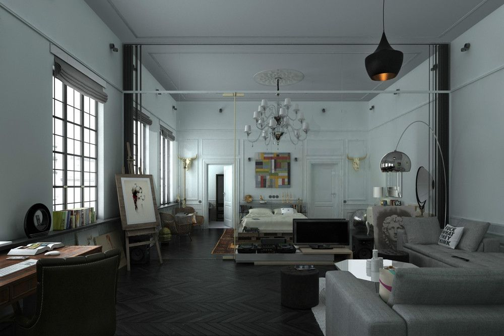 This artists loft in st petersburg from designer anton zaytsev uses a lot